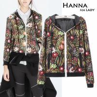 2014 Autumn Fashion Flower Print Jackets Women Hooded Slim Outwear Tops
