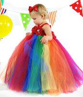 2014 Christmas Girl Rainbow Flower Tutu Dress Elegant Kids Girls Dress For Porm Birthday New Year Evening Party  Size 2T-12Y