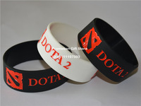 "DOTA 2 Silicon Wristband, Bracelet for Games Fans, Promotion Gift, Adult, Black & White, 1"" Wide, 50pcs/Lot, Free Shipping"