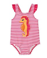 RETAIL free shipping 2014 new baby girl name brand seahorse design one piece swimsuit, free shipping