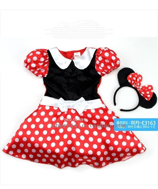 Wholesale Minnie Dress Girls Party Dresses Fit 3-7Y 5pcs/lot Minnie Mouse Clothing With Hair Bow(China (Mainland))