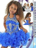infant little kids mini Blue Cupcake Crystal Beaded flower girl Pageant Dresses