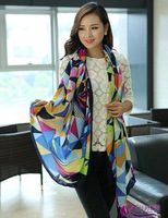 Hot New Geometric Pattern Lady Polyester Woven Scarf