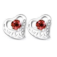 GNE1044 Free Shipping 9*9.7mm S925 Jewelry Stud Earrings for Women Fashion 925 Sterling Silver Heart Earrings with Cubic Zircon