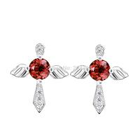 GNE1040 Free Shipping 1pair 12.1*10.1mm CZ Stud Earrings Fashion Women Jewelry 925 Sterling Silver Cross Earrings Gift For Women