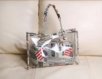 2 Bags Set! 2014 New Women Transparent Clear Shoulder Bag + Small Handbag Set Fashion Bags