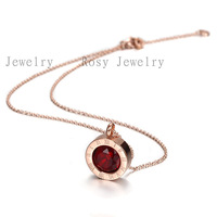 Aliexpress hot 18K rose gold 2014 new Fashion necklaces for women red cz crystal high quality stainless steel NSSN212