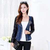 New Design Female PU Leather Patchwork Bodycon Short Denim Jacket Autumn Fashion Zipper Celebrity Jaqueta Couro 1823