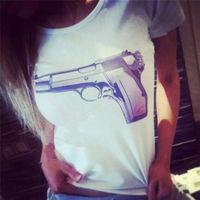 New 2014 Women t-shirt Fashion Gun Printed Tee Cotton White tops High Quality