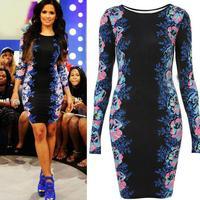 2014 hot sell brand new high quality women flower print long-sleeve o-neck black sexy slim dress