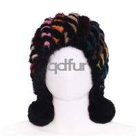 Winter And Autumn Ladies' Genuine Knitted Mink Fur Hats Caps Winter Women Fur Beanies Female Headgear QD30477