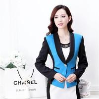 Female Blaser Women Formal Blazer Ladies Colorido Blue Blazer Feminino 2014 Winter Professional Clothes Office Uniform Design