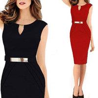 Sexy 2014 Elegant Black Red V Neck Zipper Bandage Evening Dress High Quality Plus Size Club Dresses