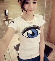2014 New Women Girl Summer Round neck Eye Print Short Sleeve Slim T-shirt Blouse Freesize