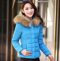 Wholesale 2014 Free shipping New Fashion Women's Winter Long sleeve Fur Hooded Slim Short Down Coats 6 Colors M-XXXL