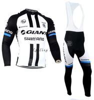 Free shipping! Giant 2014 #4 long sleeve autumn bib cycling wear clothes bicycle bike cycling jersey bib pants set+gel pad