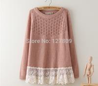 Retail 2014 New Mori Girl Autumn Fashion Women Lace Patchwork Cotton Sweatshirts,Female Casual Hoodies,Free Shipping al068