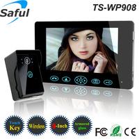 "New tamper alarm rainproof HD 9""LCD touch key taking photo wireless video door phone doorbell ir intercom with solar charger"