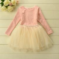 New 2015 Autumn girls fashion print dress baby girls long sleeves tutu party dress