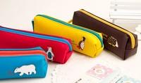 Sweet PU Forest Animals 20CM Kids School Pen Pencil BAG Case Pouch ; Cosmetics Purse BAG & Wallet Coin Pouch BAG Case