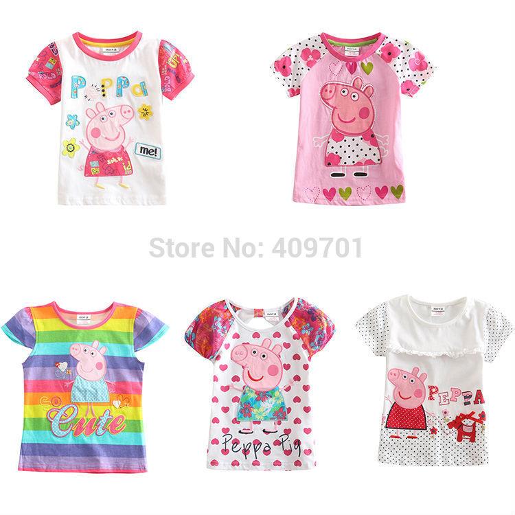 peppa pig girl t shirt 5 kinds of nova kids girl t-shirt for peppa pig one piece retail peppa pig kids t-shirt for girls(China (Mainland))