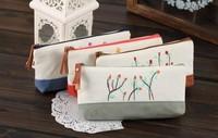 Sweet Floral Yard Trend Canvas 19CM School Kids Pen Pencil BAG Case ; Women Cosmetics Purse BAG & Wallet Coin Pouch BAG Case