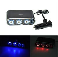 3 Way Triple Car Cigarette Lighter Socket Splitter 12V/24V +USB+LED Light Switch Free shipping&wholesale TF