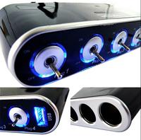 4 Way Car Cigarette Lighter Socket Splitter DC 12V + USB + LED Light Control TF