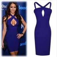fashion causal women's night club evening party porm dress A-ine blue sexy sleevless bpdycon dresses