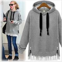 Women Female fashion star 2014 autumn and winter medium-long plus size loose long-sleeve hoodies sweatshirt velvet tops