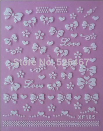 Fashion 1 piece 1Sheet 3D Design Tip Nail Art Nail Sticker Nail Decal carving white snow flower nail tools 185(China (Mainland))