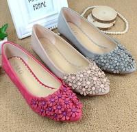 New 2014 Spring Women Pointed Toe Flats Fashion Flower Slip-on Women Ballerinas Flats High Quality Women Shoes Female Footwear