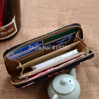 Korean trend ladies fashion latest canvas zipper wallet large zip around wallet purse handbag