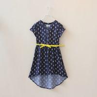 DS4086 free shipping Girls  hi-low hem cat print belted dress