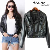 2014 Autumn Fashion Slim Faux Leather Jackets Outwear Women Short Coats Tops
