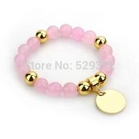 Free shipment 10mm cutsurface semi-preciousgold  & rose gold plated Bracelets JHSPB10C1FJG-JHSPB10C1LMS