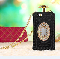 1 piece Luxury Perfume Bottle Case for iPhone 5 5s Perfume Cover With Gold Chain,Free Shipping