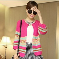 NEW Arrival Spring/Autumn striped women's knitwear 3/4 sleeve o-neck sweaters fashion cardigan black/beige free shipping