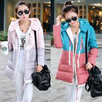 5803 # real shot 2014 new winter mixed colors Korean military mounted big yards long hooded down jacket women  coat parka