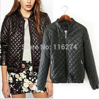 2014 New Black Ladies Leather Jacket Coats Hot Sale Fashion Women Winter Zipper Jackets Coat MYK059