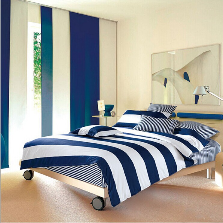 BS77#02 new 4pcs High-quality 100% cotton printed brief blue man bedclothes blue and white stripe printing 4 pieces bedding sets(China (Mainland))