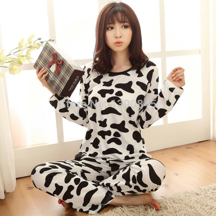 Осень женщины в молоко корова печать пижама женщины хлопок длинный рукав хлопок для дома пижамы пижама комплект