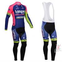 Lampre Team 2014 Long Sleeve Thermal Jersey and Cycling Bib Tight Suit Winter Cycling Clothing 2014 Bike Clothing