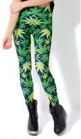 2014 Autumn New hot Women's popular green leaves digital print Leggings Pants Sexy slim Good Quality!