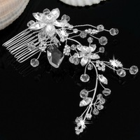 2PCSSilver Plated Crystal Flower Bridal Party Tiara Hair Slide Comb Pin Women
