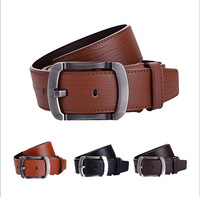 Double high-quality business belt thicken quality genuine belt brand logo buckle casual men belt cow Genuine Leather belt