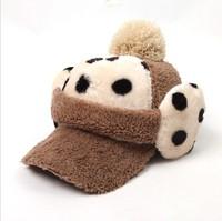 4Colors New Lady 2014 Fashion Plush autumn winter Soft Warm Dot baseball cap for woman earflap hats cap Top Ball  free shipping