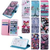 New Crown Tower Flower Leather Case For iPhone 6 4.7inch Flip Cover Birds Heart Stand Holder Wallet Elephants For iPhone 6G