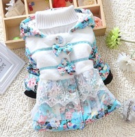 Retail new 2014 Bow winter coat children winter outwear Lace girl Down Jacket flower print winter jackets for girls