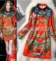 Free Shipping Runway 2014 Brand Stunning Chinese Style Print Long Sleeve Vintage Dress 02 GOD